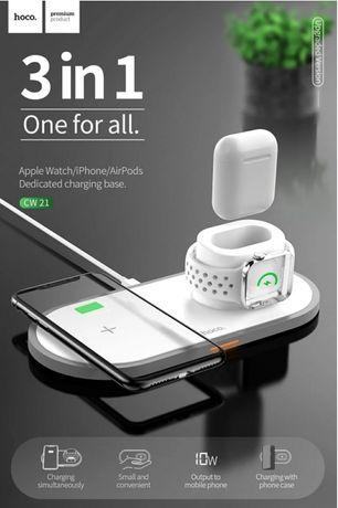 Беспроводное зарядное Hoco CW21 wisdom 3в1 быстрая зарядка apple база