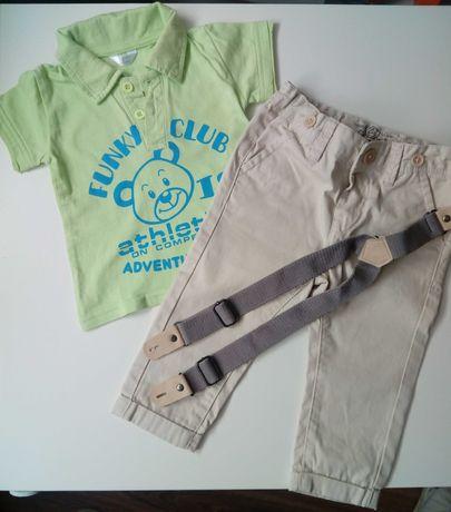 Spodnie chlopięce z koszulką polo r. 74 F&f