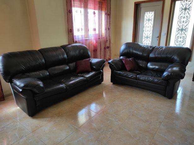 Conjunto de 2 sofás em pele