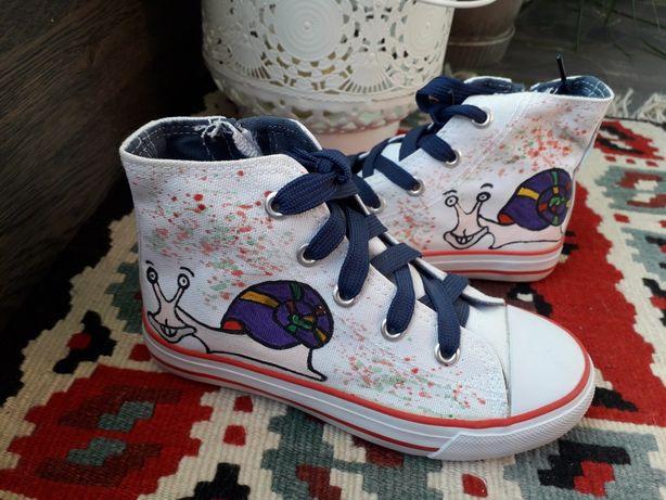 Buty trampki ręcznie malowane kolorowe ślimaki tanie nowe rozm. 29