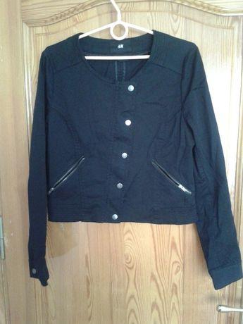 Czarna krótka materiałowa kurtka H&M zamki 42 44 XL XXL jak nowa