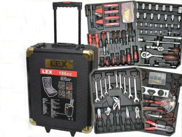 Набор инструментов LEX 186 ед предметов в чемодане, ключи с трещёткой