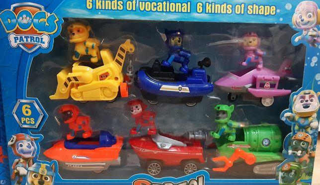 Psi Patrol , autka z napędem , wyjmowane figurki.