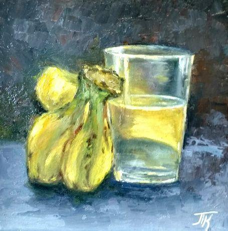 Картина масло холст 25х25см натюрморт с бананами