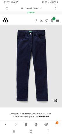 Микровельветовые штаны брюки Benetton для девочки новые 11-12 лет