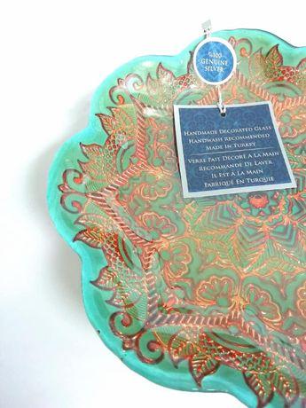 Patera Turecka AZZURRA zdobiona ręcznie SREBRO handmade Talerz wzór