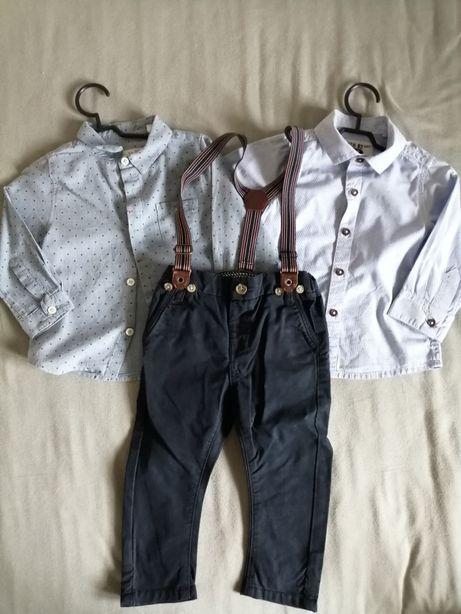 Zestaw dwóch koszul + spodnie z szelkami 80-86