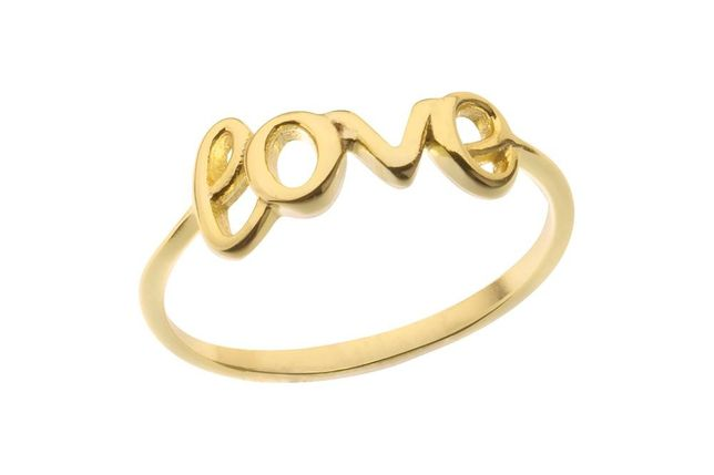 Roz 10 - Pierścionek Srebrny 925 Pozłacany - LOVE