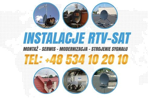 TELEWIZJA satelitarna i naziemna cyfrowa MONTAŻ anten SERWIS Warszawa