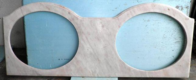 Placa em mármore para lavatório duplo