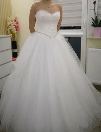 Suknia ślubna nowa 36 38 Lissie MS Moda księżniczka biała tiul brokat