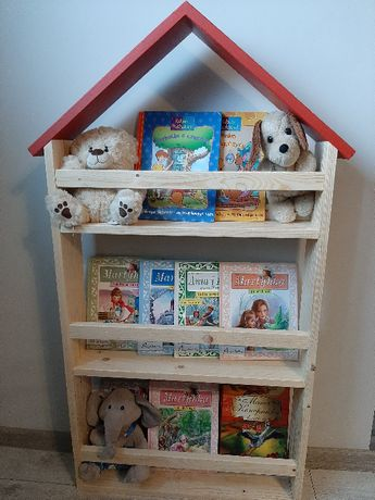 Półka drewniana na książki! Domek! Idealna do pokoju Dziecka