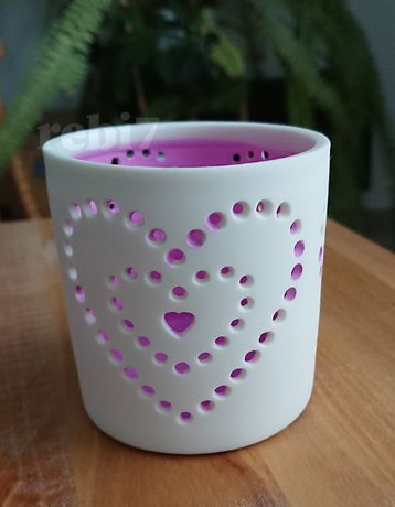 świecznik ażurowy serce różowy ceramiczny lampion tealight
