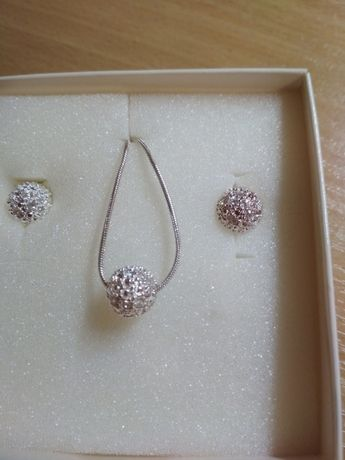 Komplet biżuterii z cyrkoniami-kuleczki