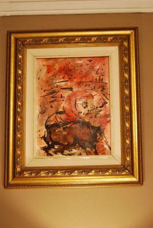 """Aguarela """"Tourada"""" pintor Oscar Pinto Lobo"""