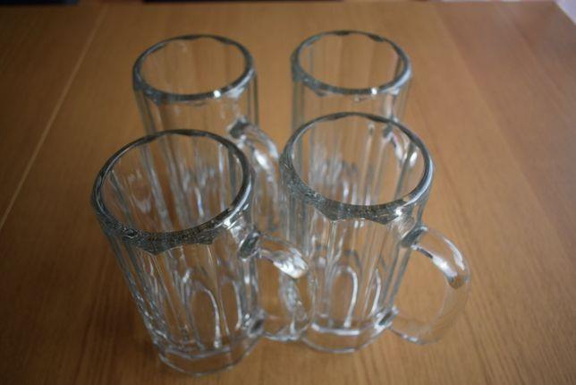 4 kufle z grubego szkła