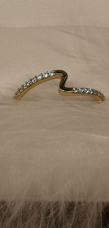 złoty cudny pierścionek pierscionek zygzak próba 333