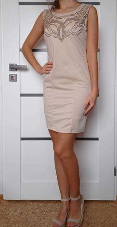Beżowa sukienka, cyrkonie ćwieki, rozmiar S, mini