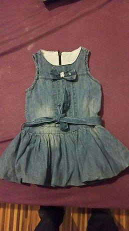 śliczna sukienka, bombka, jeans, chrzest / roczek, 86 cm