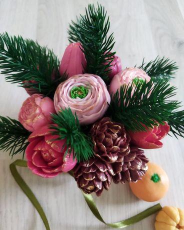 Букет из мыла, новогодний подарок, новорічний подарунок, мило, квіти