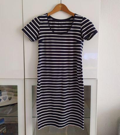Sukienka ciążowa S H&M mama 36 paski granatowa lato letnia