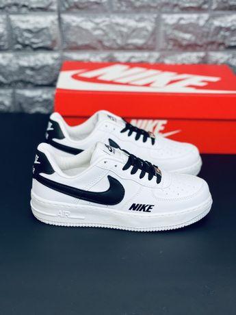 Кожаные кроссовки Nike Air Force Af1 White/Black Найк Форс Аф 1 Скидка