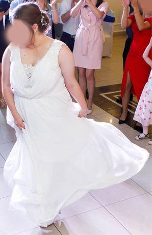 Suknia ślubna 48/50 XL/XXL, długa ze zdobieniami