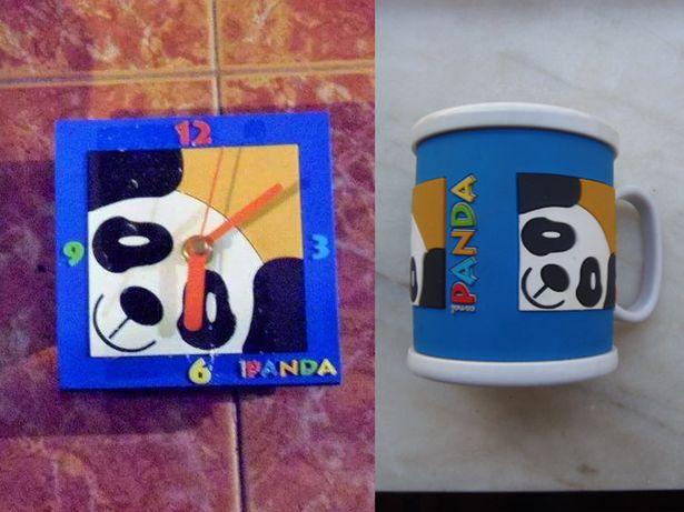 Relógio e Caneca Panda 3D