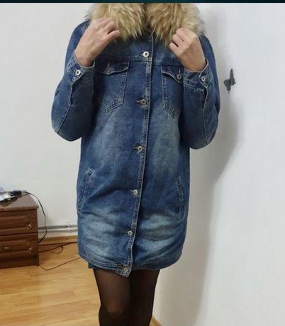 Джинсова куртка. Зима. С-М. Оверсайз