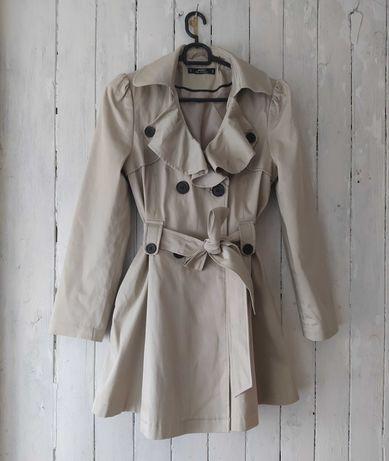 Płaszcz damski trencz wiosenny beżowy 36 S