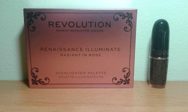 zestaw Makeup Revolution - rozświetlacz + pomadka