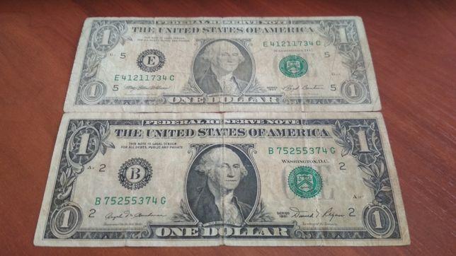 2 банкноты номиналом 1 $ (1 доллар США) (цена за обе)