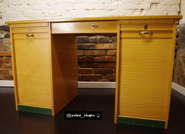 Drewniane biurko roletowe lata 60-te