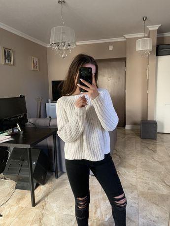 Sweter sweterek kardigan biały kremowy w prazki prazkowany S M 36 38