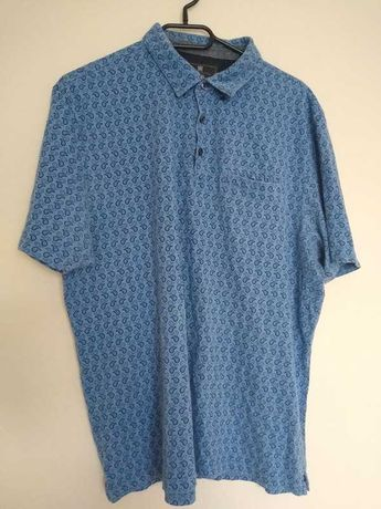Niebieska koszulka polo we wzór łezki bandana