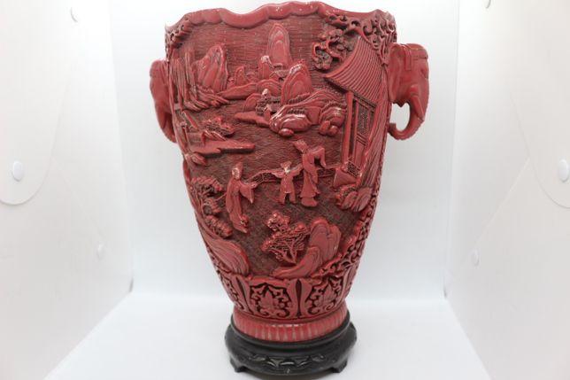 Jarra Vermelha Chinesa Pedra de Sabão motivo Figuras Antiga Marcada