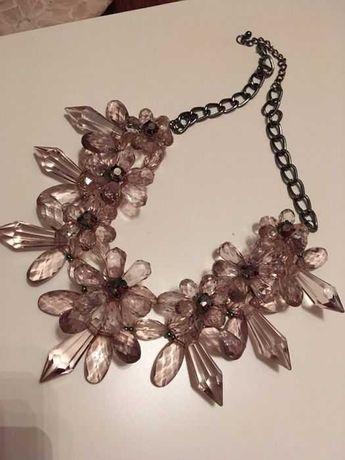 Kolia kryształki fioletowo różowe naszyjnik duży kamienie