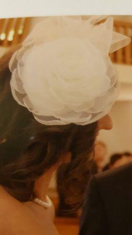 Toczek stroik ozdoba na głowę ślub
