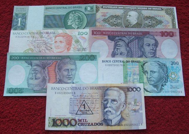 BRAZYLIA Kolekcjonerskie Banknoty - 7 sztuk UNC