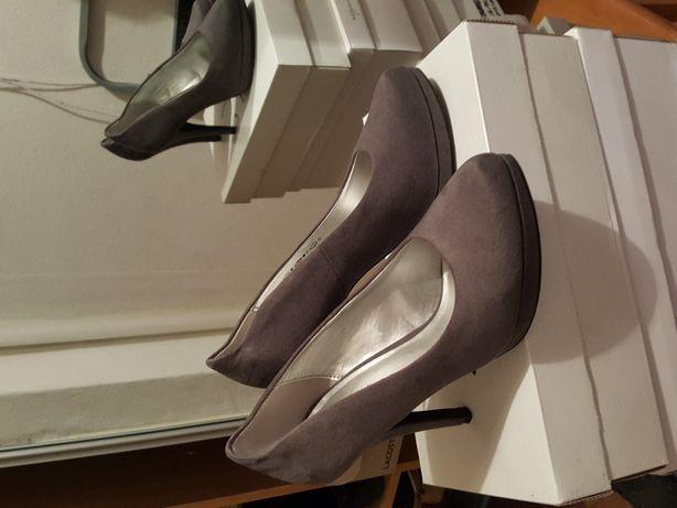 Szpilki pantofle szare zamszowe
