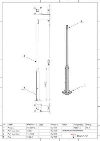 Słup oświetleniowy kwadratowy ocynkowany 5 m