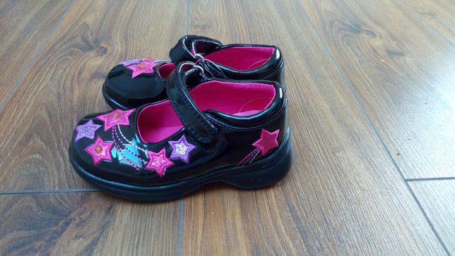 Nowe buty lakierki zapinane na rzep dla dziewczynki świecące 21