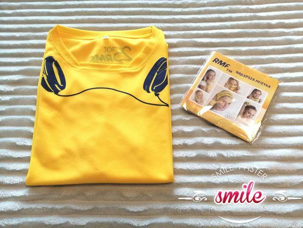 Nowa żółta koszulka techniczna t-shirt RMF-FM 140, S, M, XL + komin