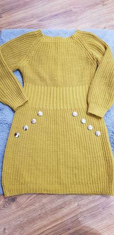Sweter damski musztardowy