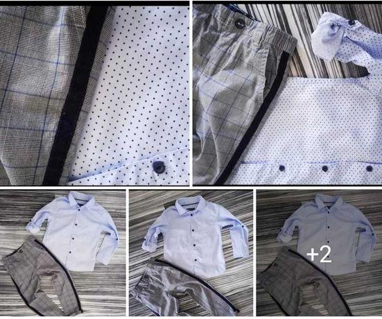 Zestaw świąteczny 92/98 koszula gwiazdki spodnie krata kratka