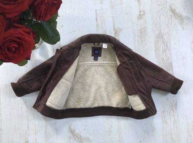 Brązowa kurtka z kremowym kożuchem skórzana GAP rozmiar 3-4 lata