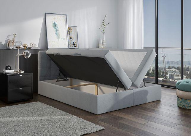 Łóżko kontynentalne Szare 140x200 cm z podwójnym pojemnikiem