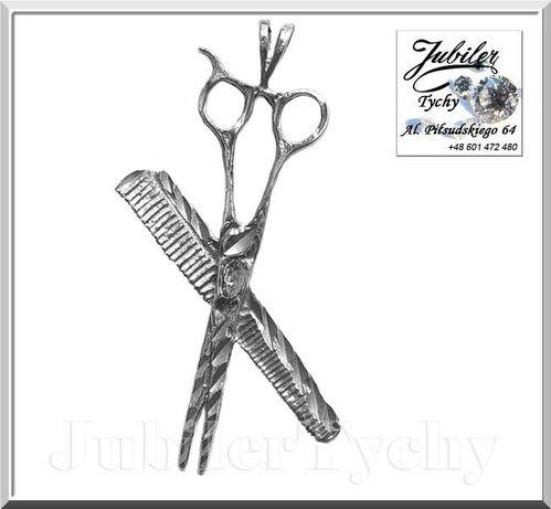 Duży srebrna zawieszka nożyczki fryzjerskie z grzebieniem grzebień