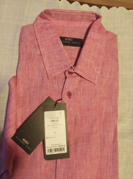 Koszula męska , lniana, nowa, krótki rękaw, pastelowy róż - rozmiar L.