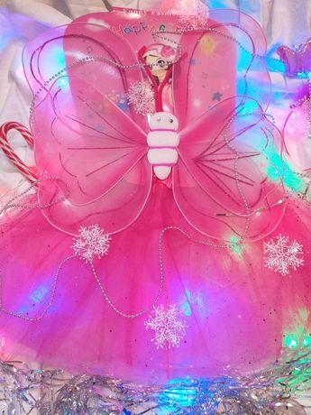 Карнавальный костюм крылья бабочки для девочки с юбочкой розовый